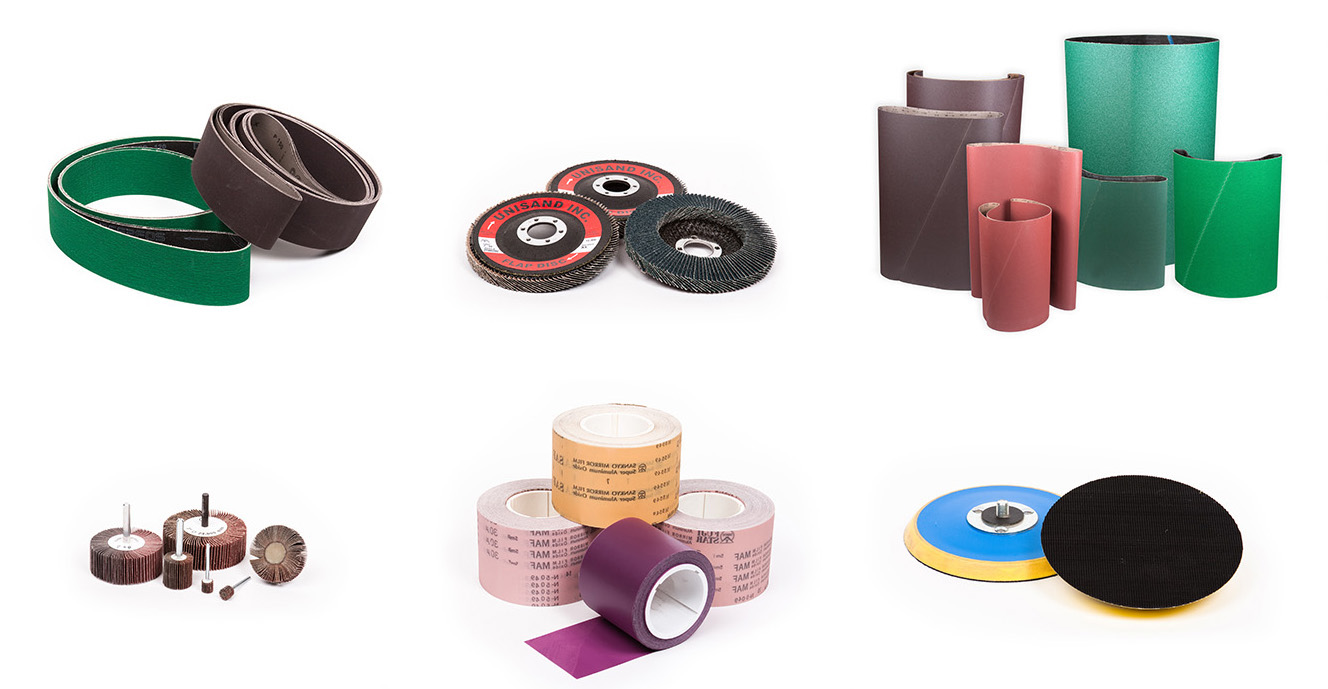 coated abrasive belts, discs, pump sleeves, flap wheels, rolls and sheets