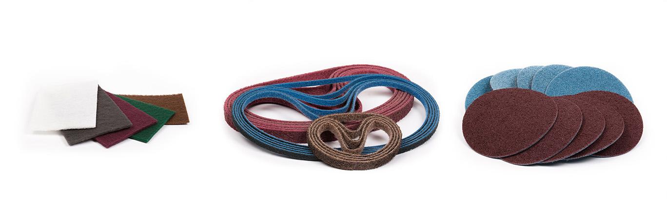 non-woven abrasive belts, discs, rolls
